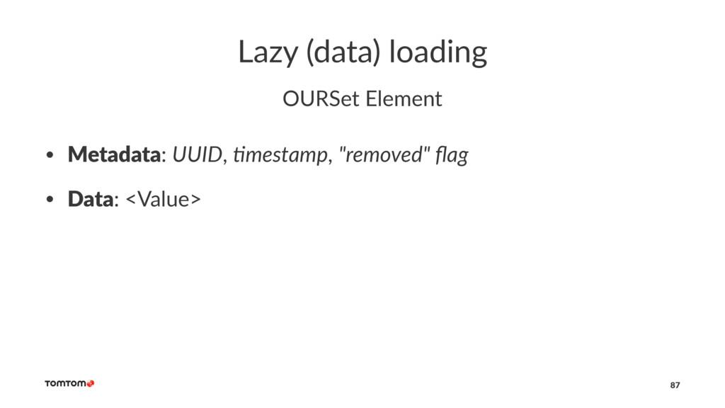 Lazy (data) loading OURSet Element • Metadata: ...