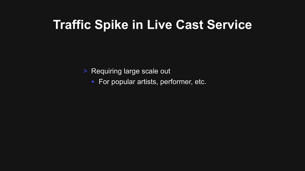 Traffic Spike in Live Cast Service > Requiring ...