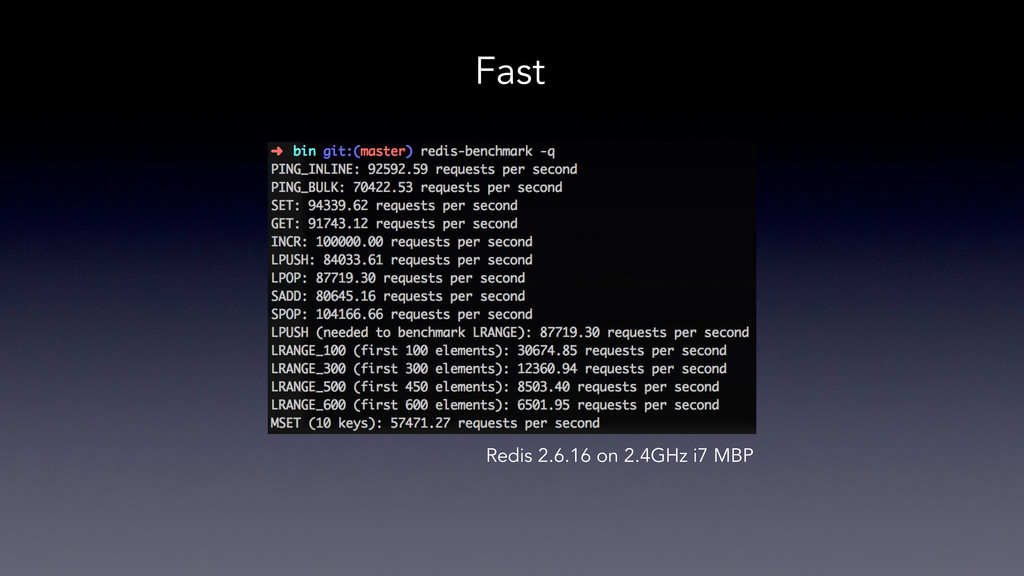Fast Redis 2.6.16 on 2.4GHz i7 MBP