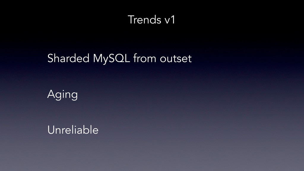 Sharded MySQL from outset Aging Unreliable Tren...