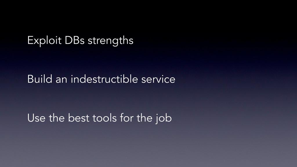 Exploit DBs strengths Build an indestructible s...