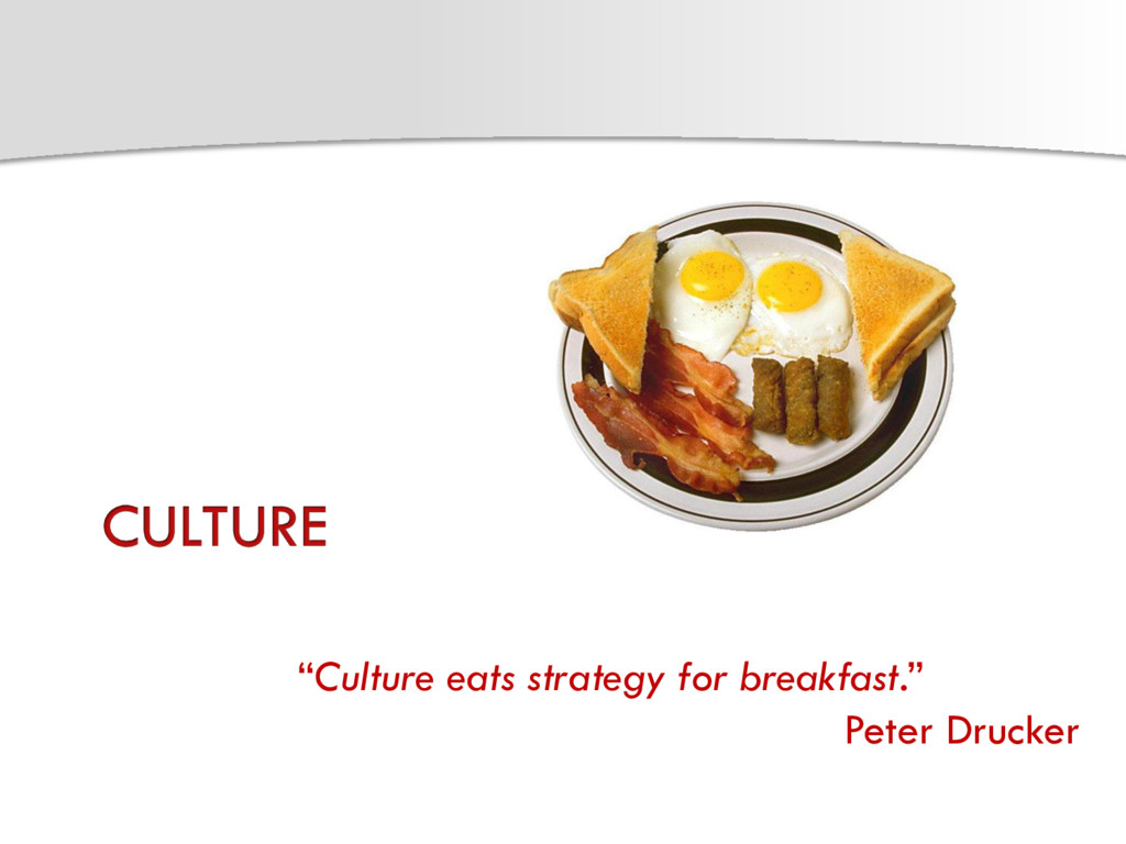 """Culture eats strategy for breakfast."" Peter Dr..."