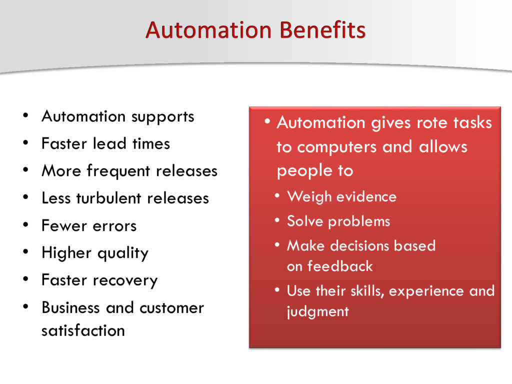 • Automation supports • Faster lead times • Mor...