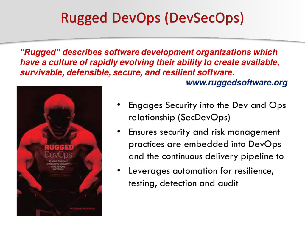 • Engages Security into the Dev and Ops relatio...