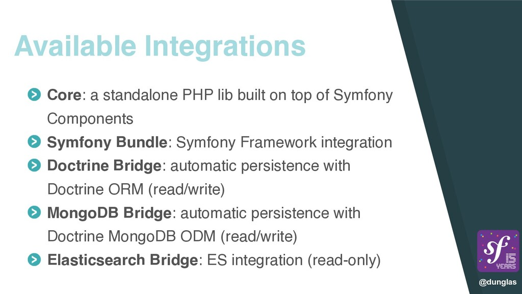 @dunglas Available Integrations Core: a standal...