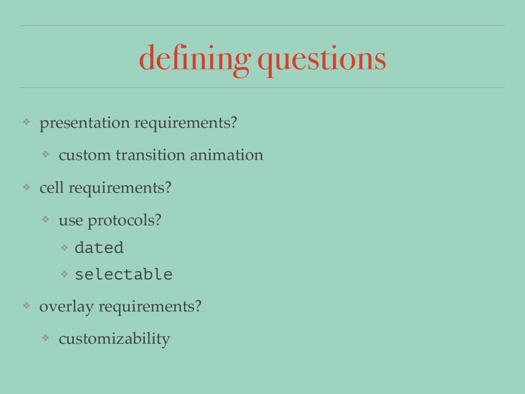 defining questions ❖ presentation requirements?...