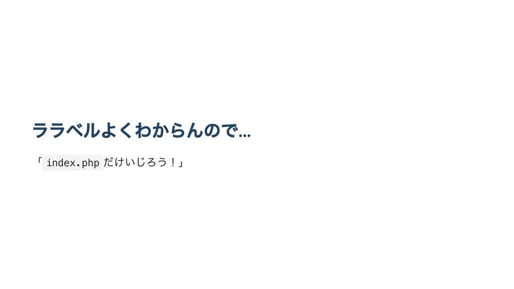 ララベルよくわからんので… 「 index.php だけいじろう!」