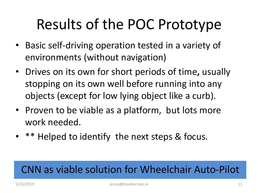 Results of the POC Prototype • Basic self-drivi...
