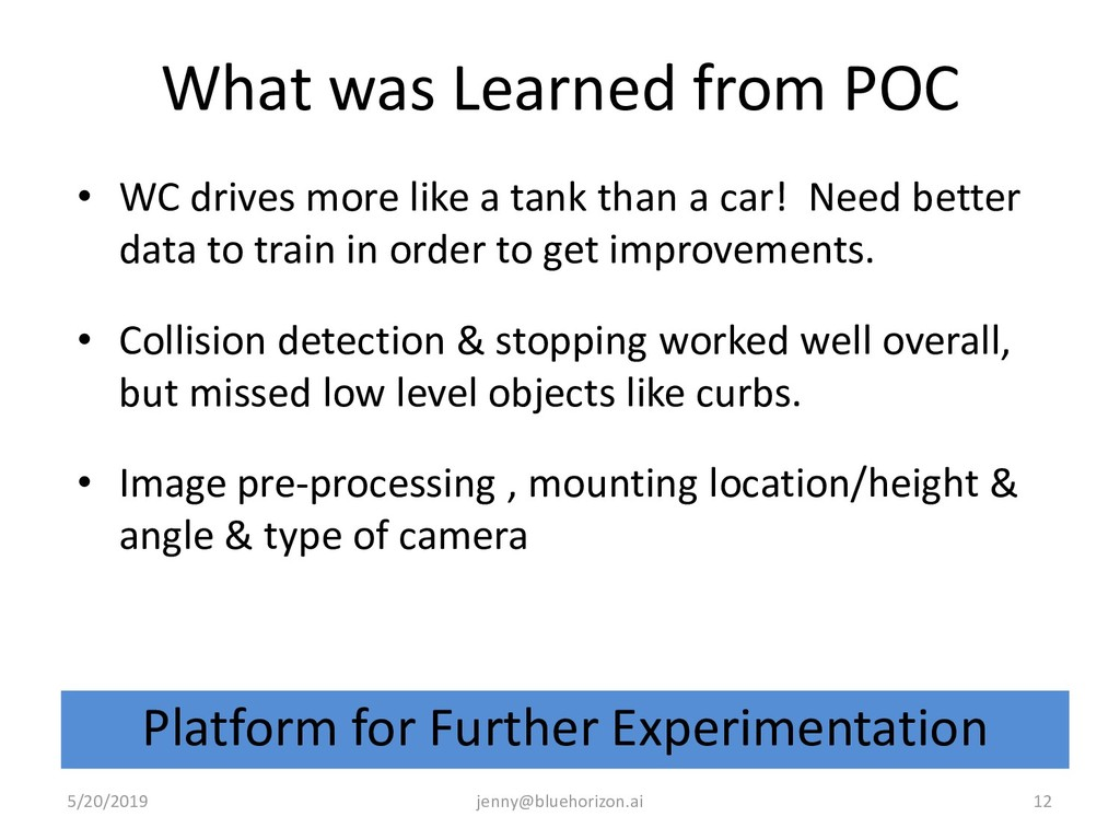 What was Learned from POC • WC drives more like...