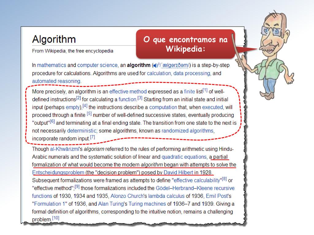 O que encontramos na Wikipedia: