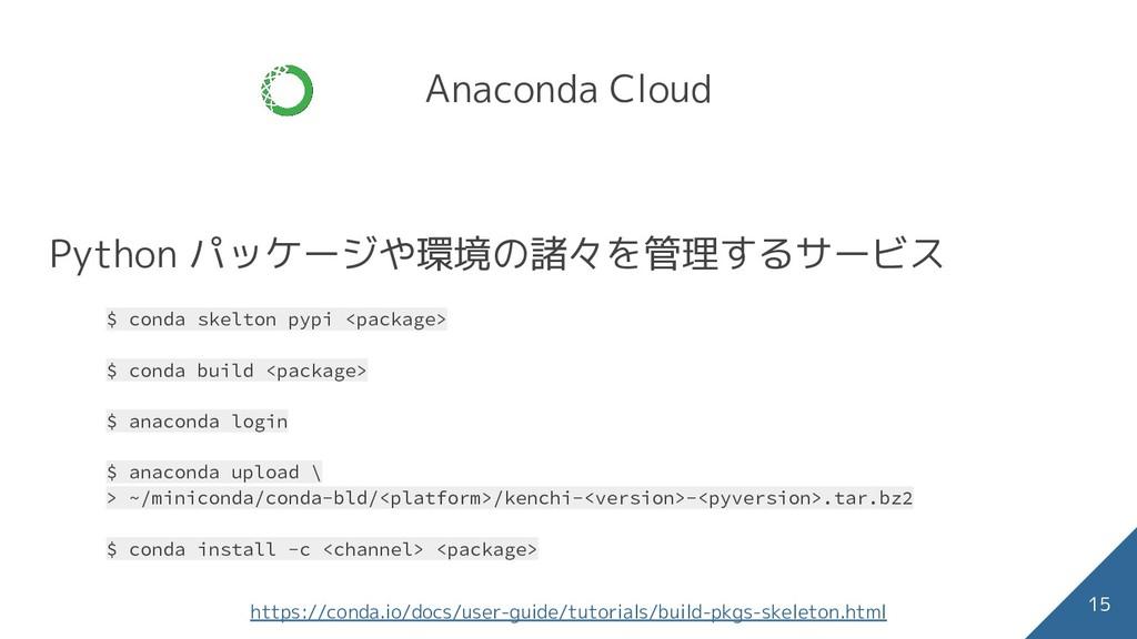 Anaconda Cloud Python パッケージや環境の諸々を管理するサービス $ co...