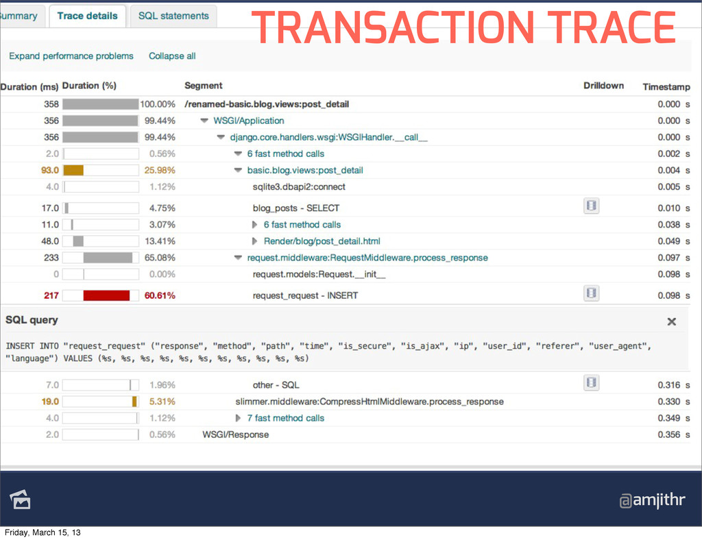 @amjithr TRANSACTION TRACE Friday, March 15, 13