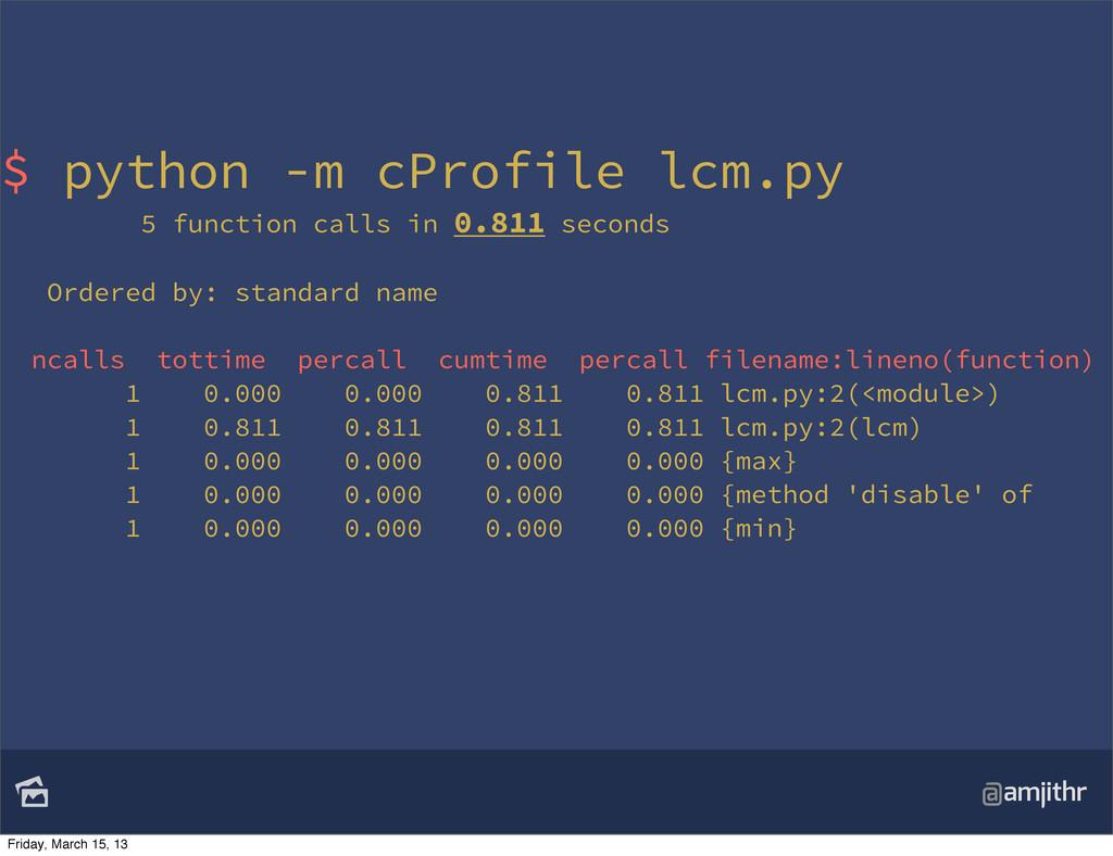 @amjithr $ python -m cProfile lcm.py 5 functio...