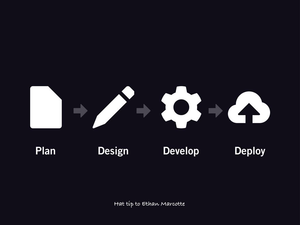 Plan Design Develop Deploy Hat tip to Ethan Mar...