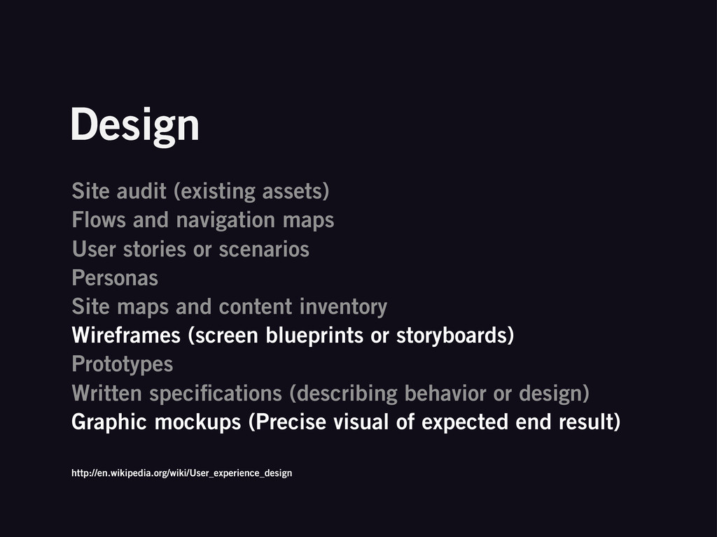 Design Site audit (existing assets) Flows and n...