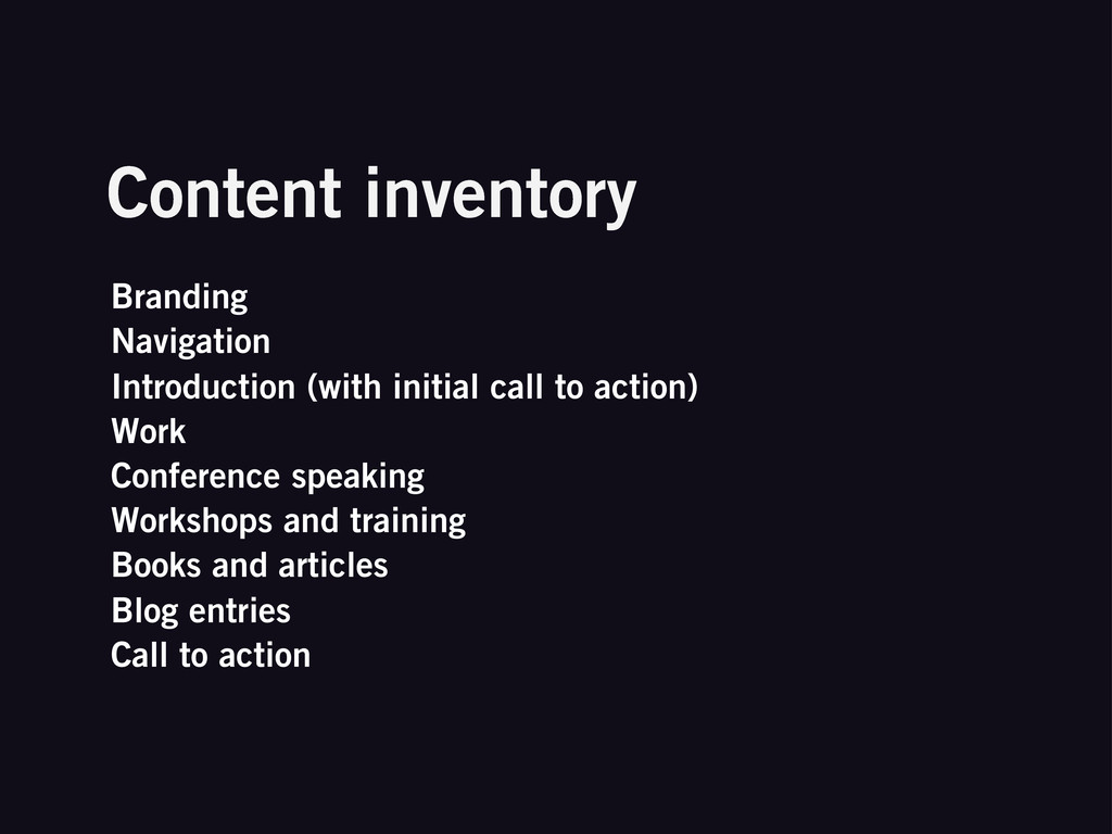 Content inventory Branding Navigation Introduct...