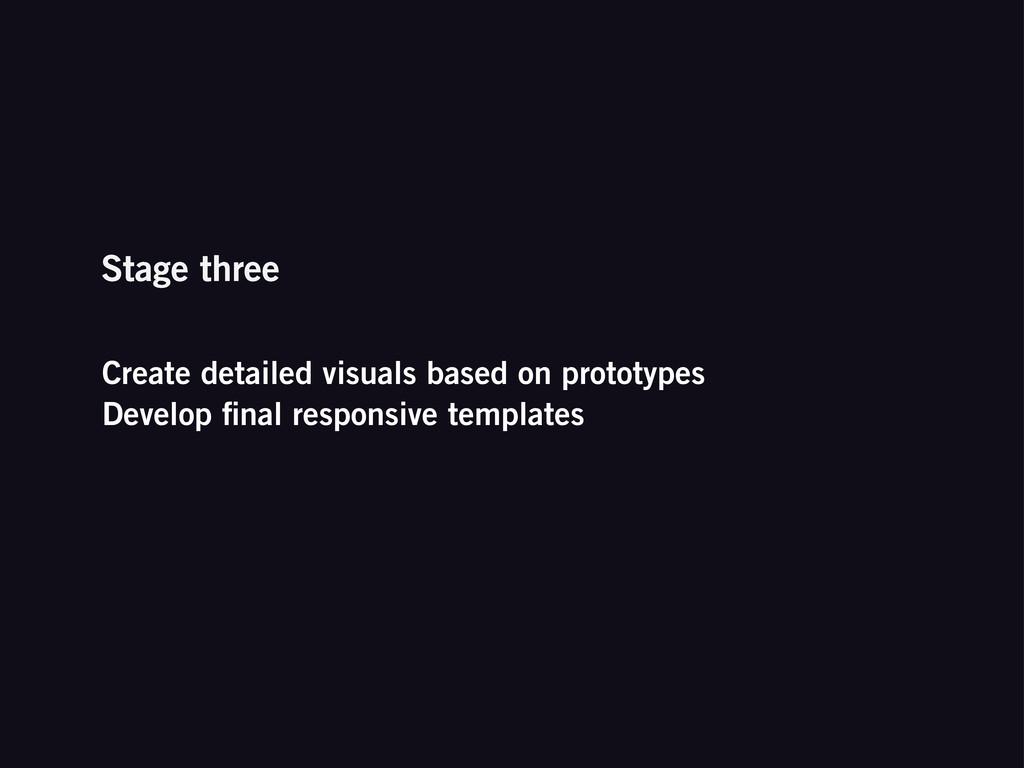 Create detailed visuals based on prototypes Dev...