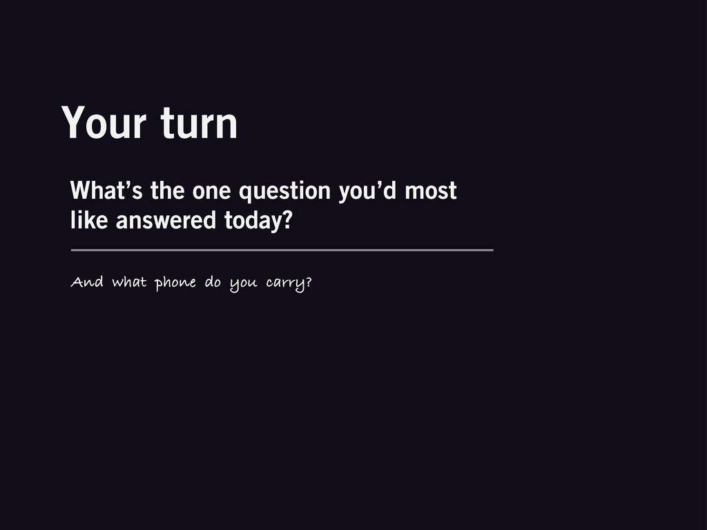 Your turn What's the one question you'd most li...