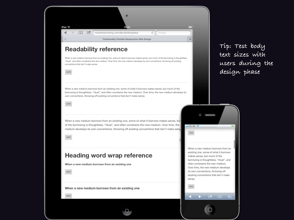 Tip: Test body text sizes with users during the...