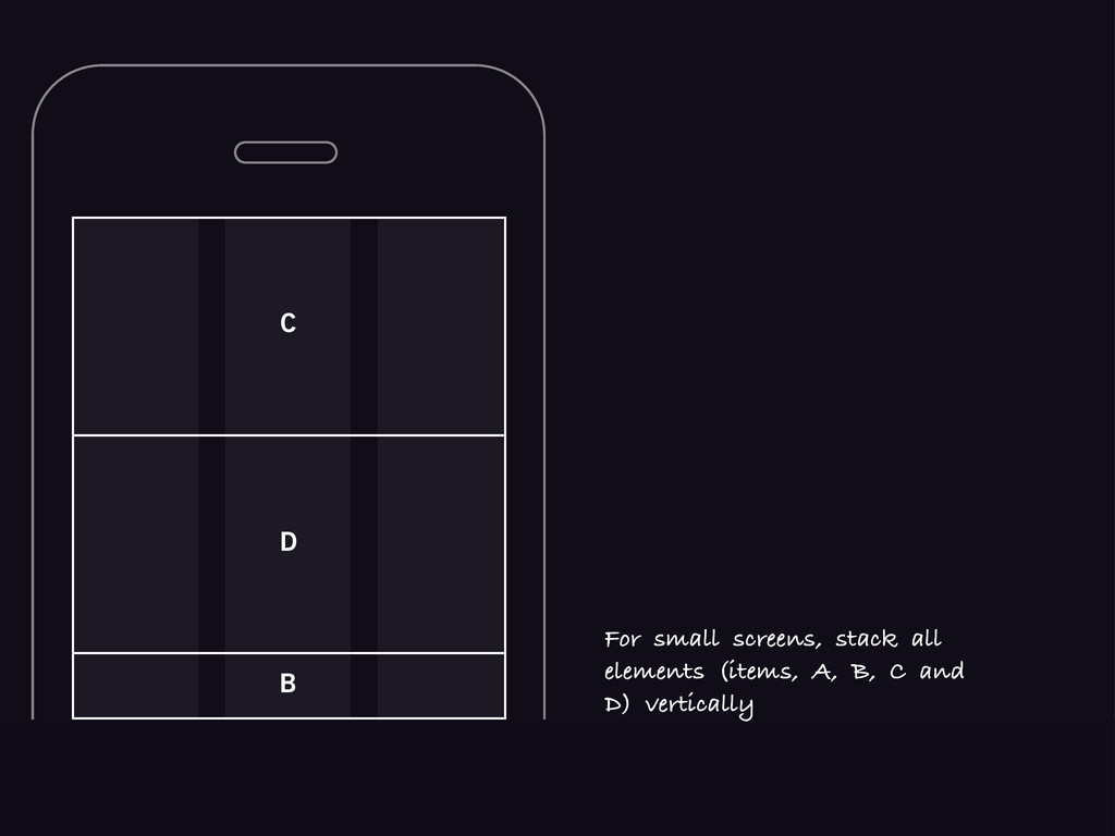 C B D For small screens, stack all elements (it...