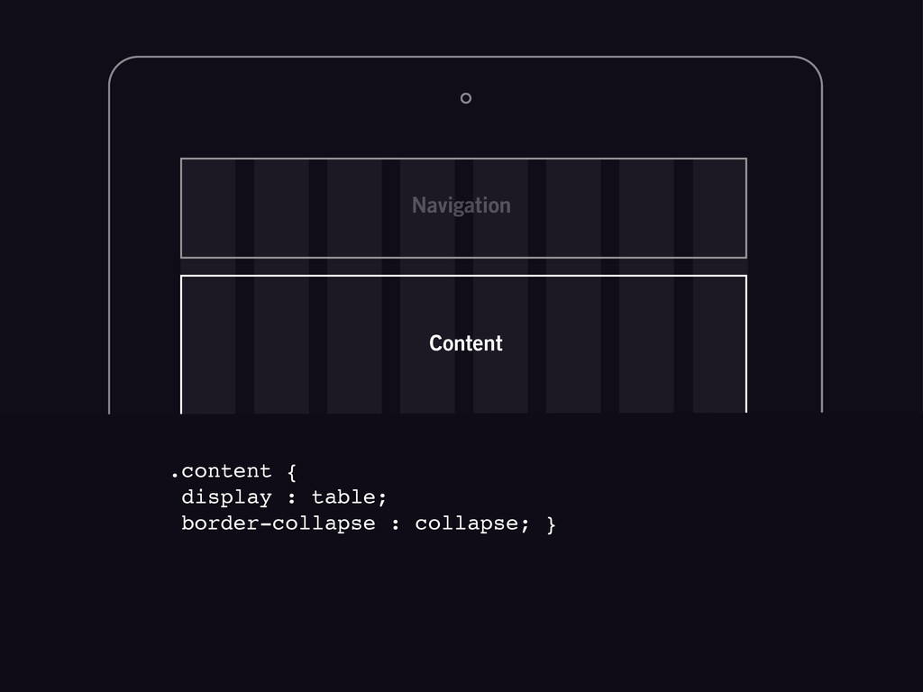 Content Navigation .content { display : table; ...