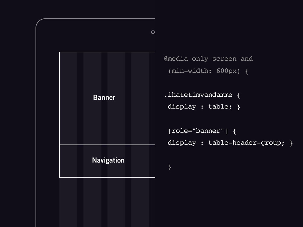 Navigation Banner @media only screen and (min-w...
