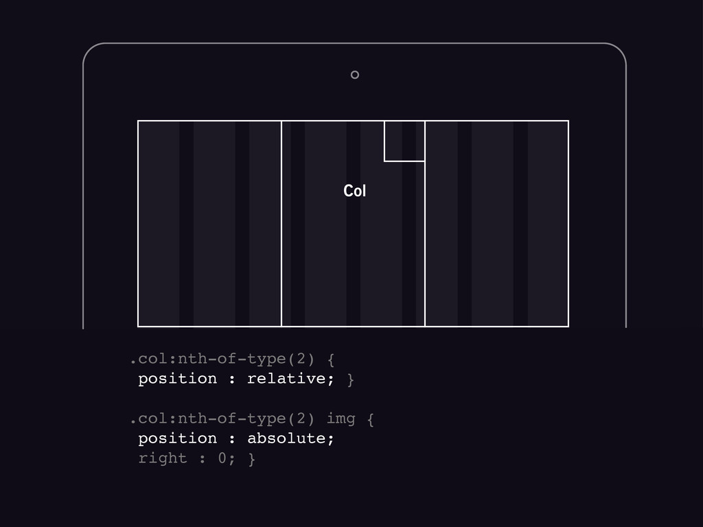 .col:nth-of-type(2) { position : relative; } .c...