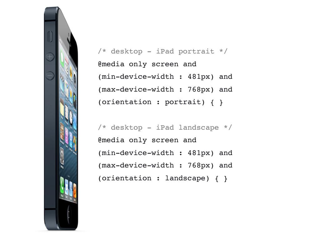 /* desktop - iPad portrait */ @media only scree...