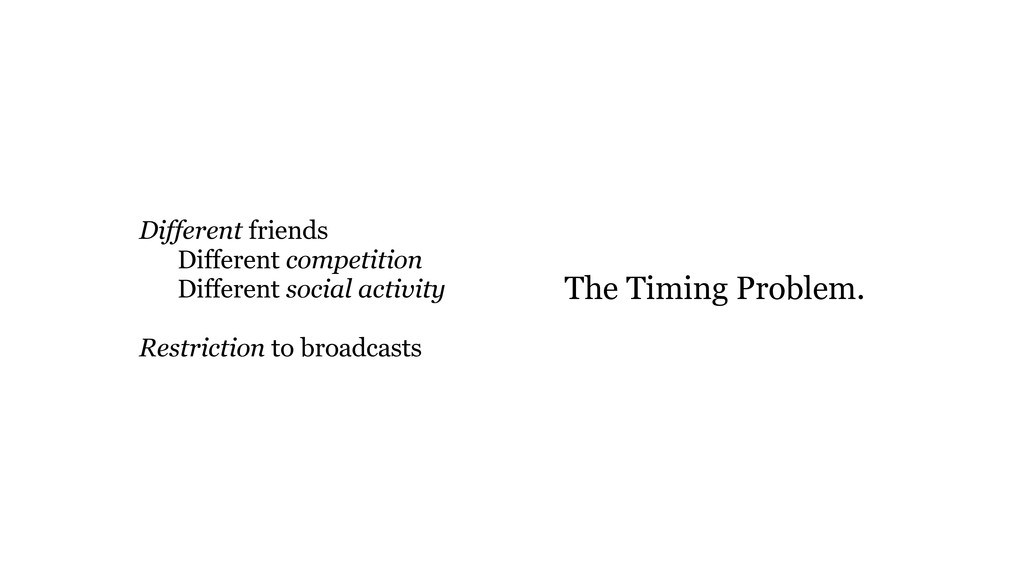 The Timing Problem. Different friends Different...