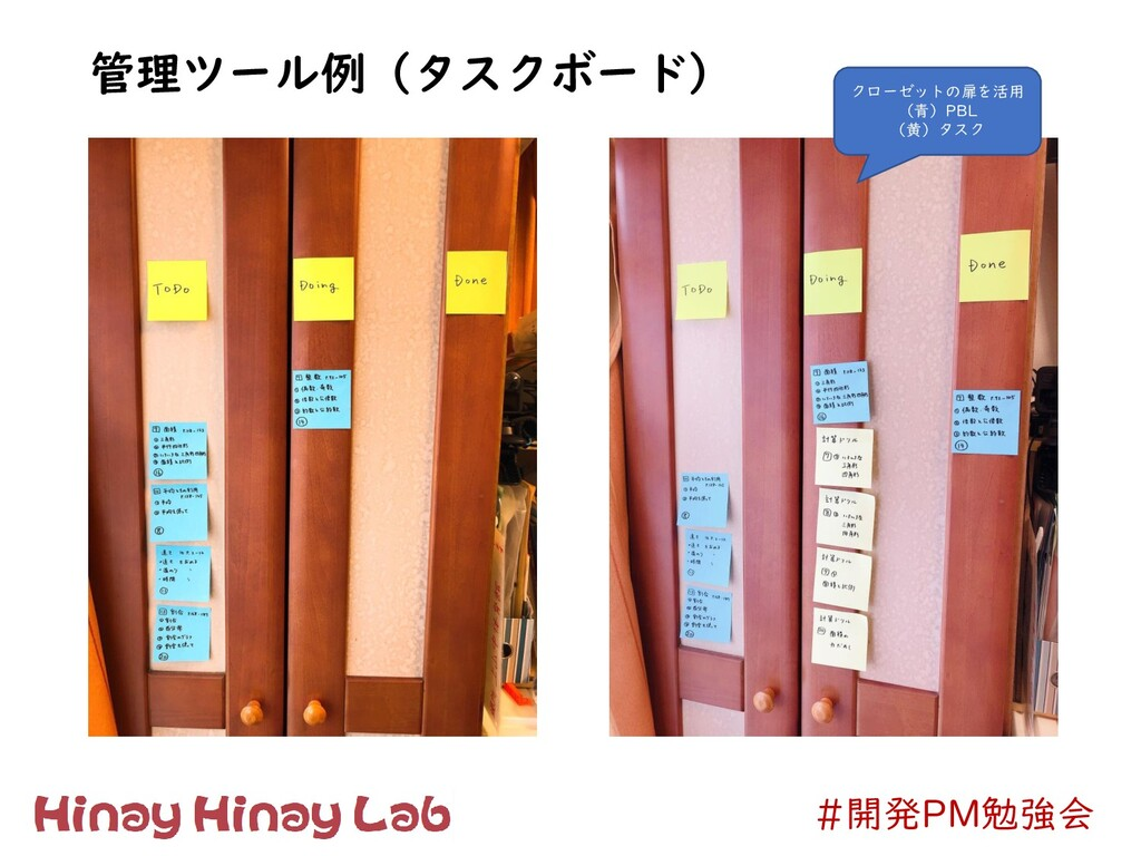 #開発PM勉強会 管理ツール例(タスクボード) クローゼットの扉を活用 (青)PBL (黄)タ...