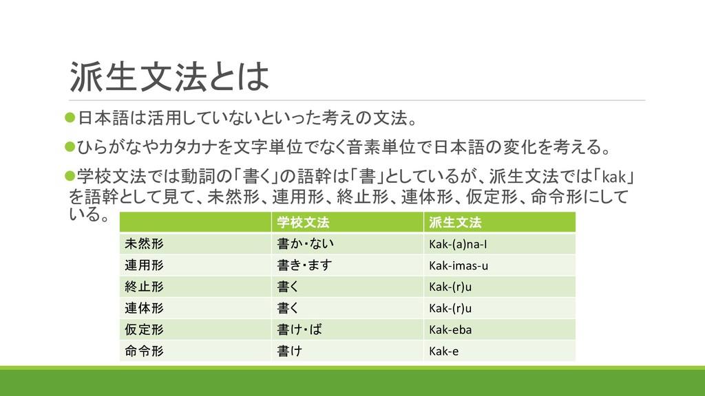 派生文法とは 日本語は活用していないといった考えの文法。 ひらがなやカタカナを文字単位でな...