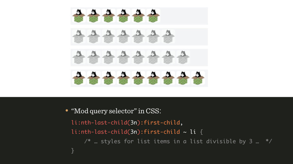 "• ""Mod query selector"" in CSS: