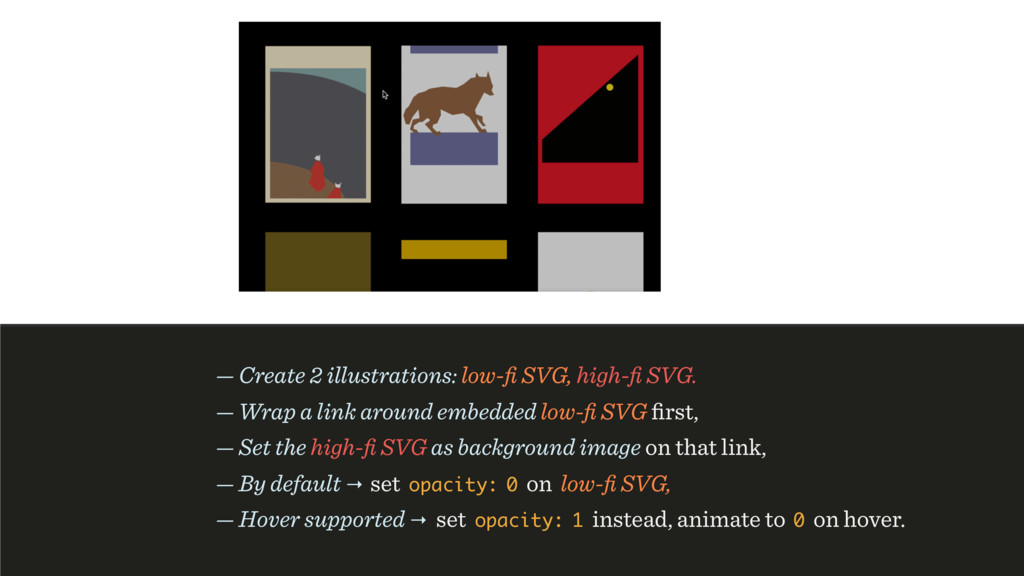 — Create 2 illustrations: low-fi SVG, high-fi SVG...