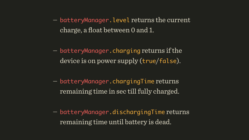 — batteryManager.level returns the current char...