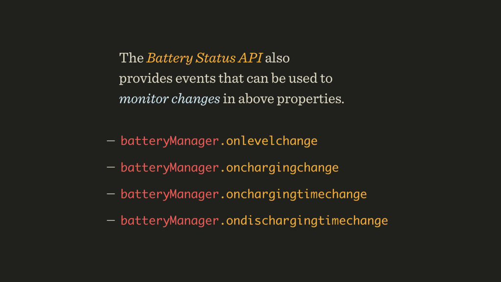 — batteryManager.onlevelchange