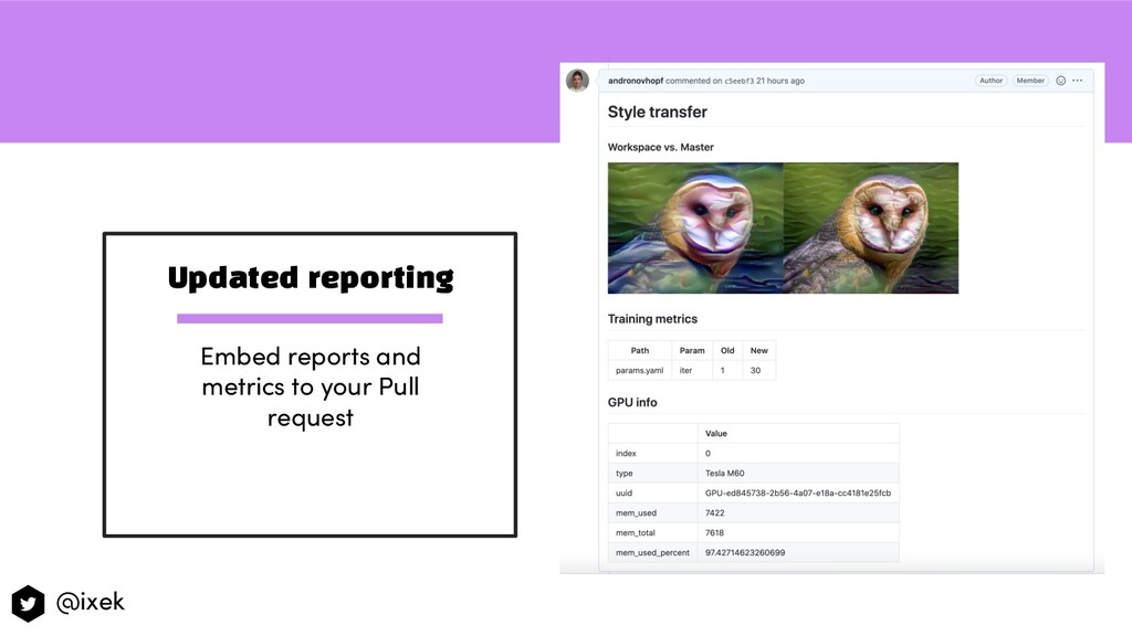 Updated reporting Embed reports and metrics to ...