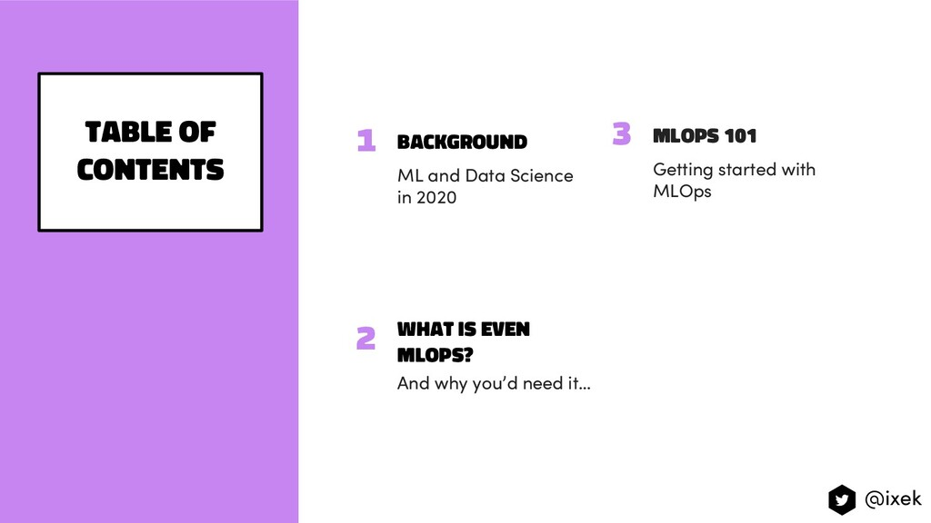background ML and Data Science in 2020 Table of...