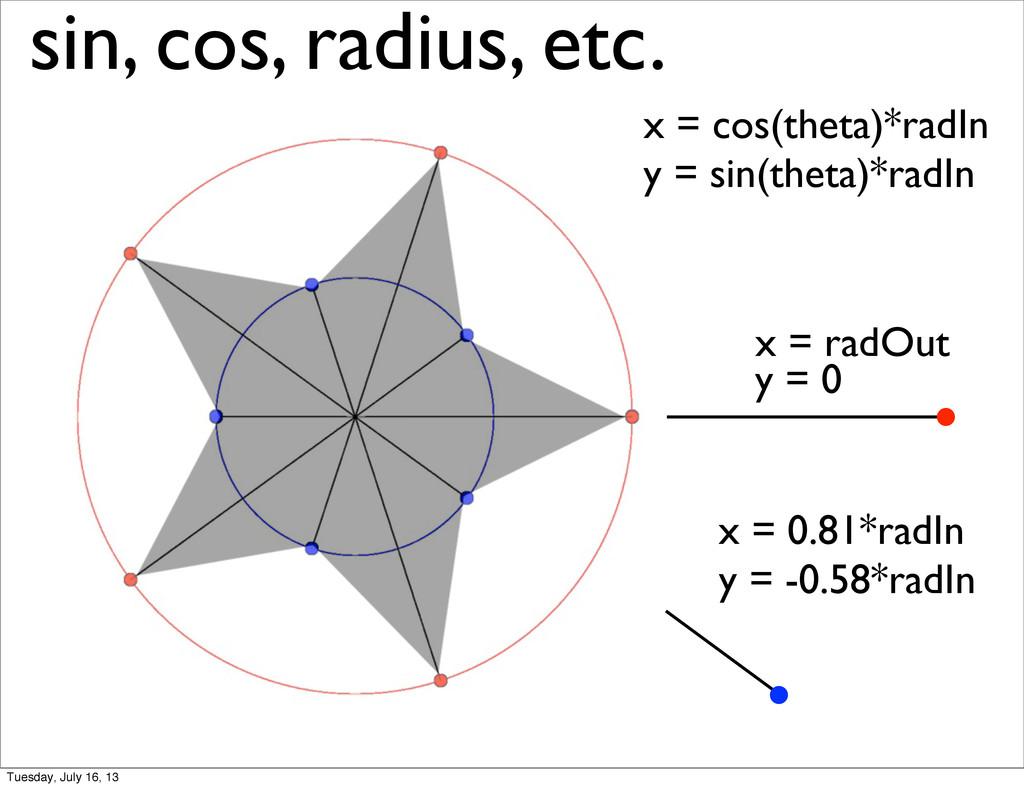 sin, cos, radius, etc. x = radOut x = 0.81*radI...