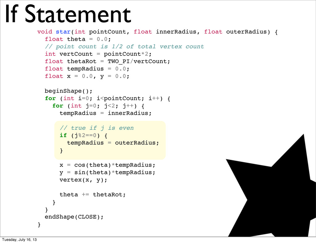 If Statement void star(int pointCount, float in...