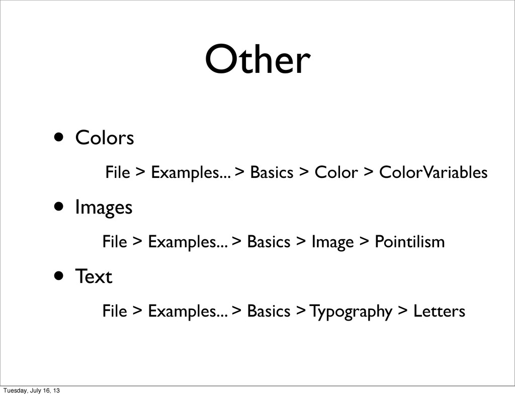 Other • Colors File > Examples... > Basics > Co...