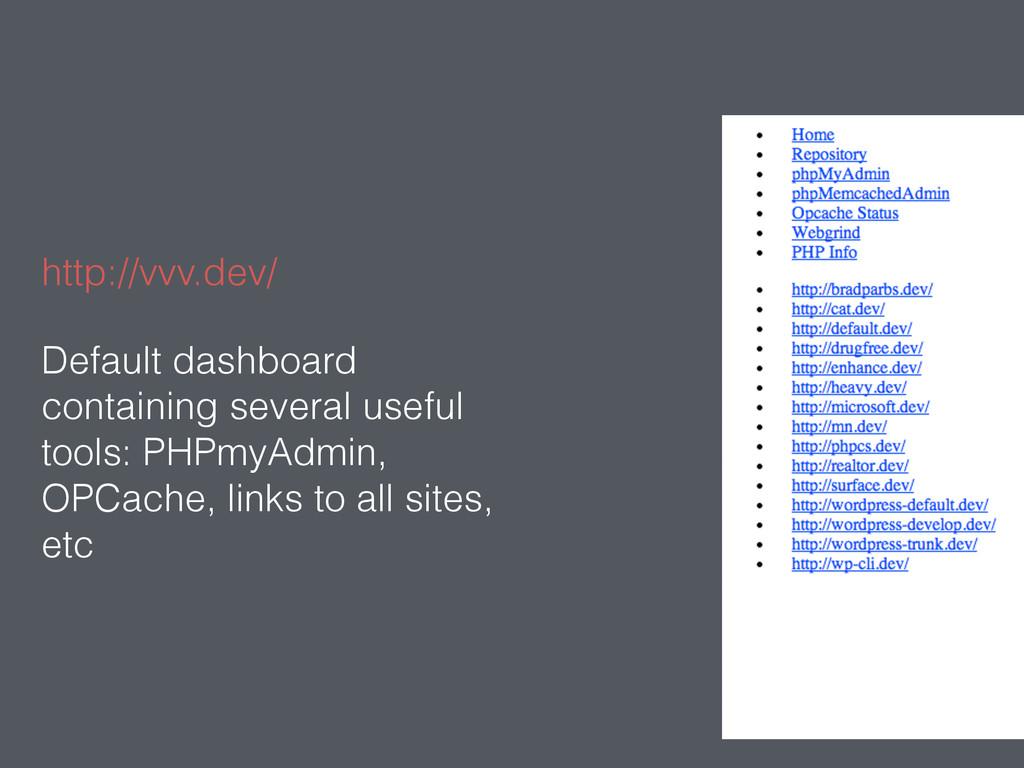 http://vvv.dev/ Default dashboard containing se...