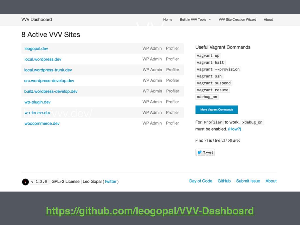 VV http://vvv.dev/ Default dashboard containing...