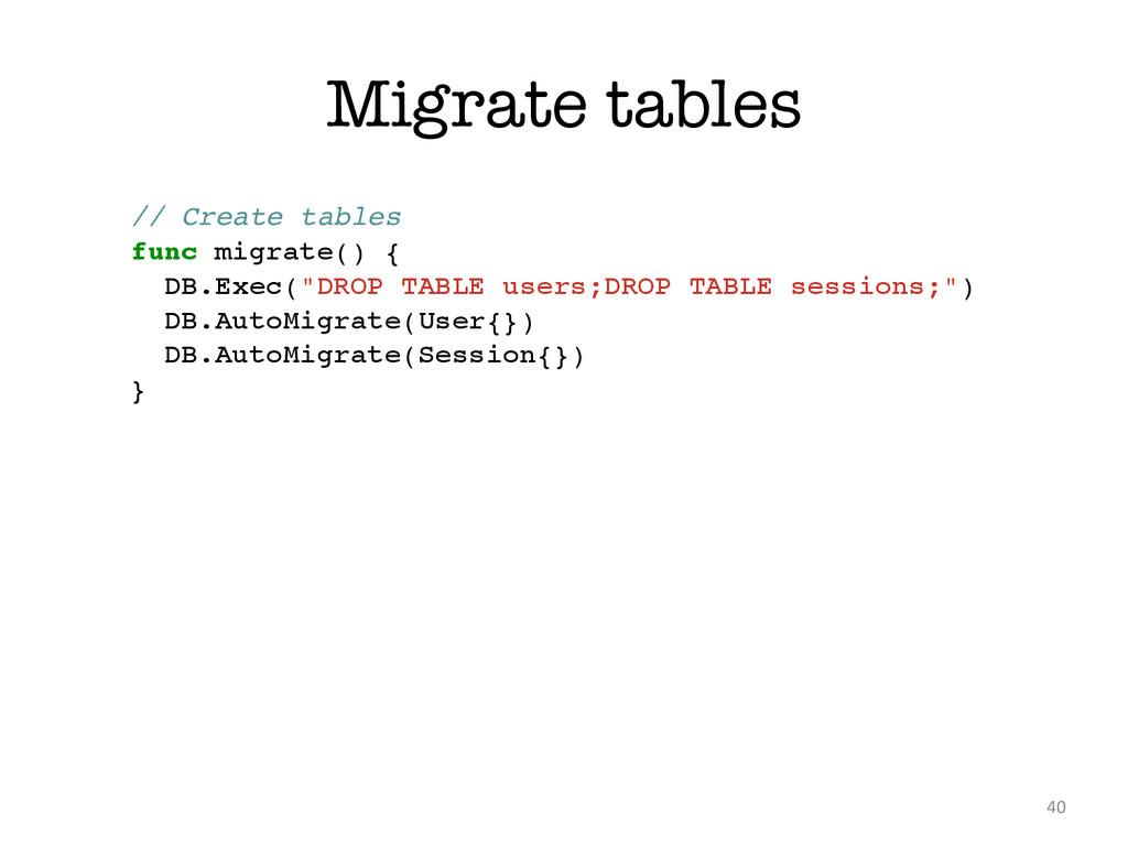 Migrate tables 40 // Create tables! func migrat...