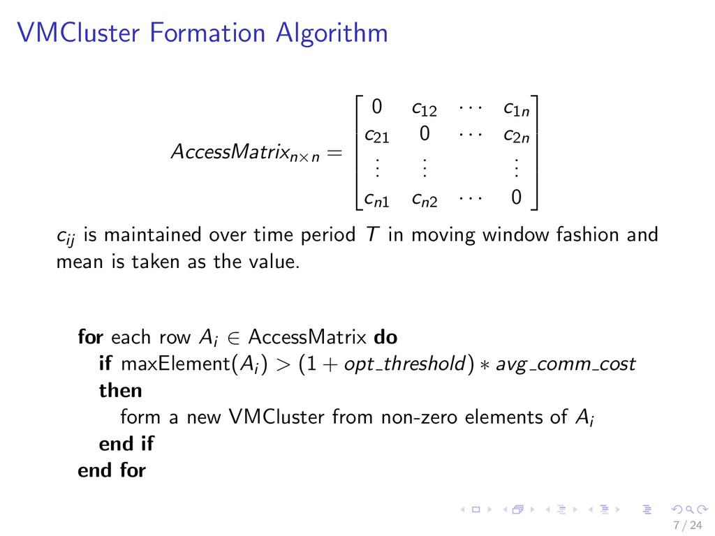 VMCluster Formation Algorithm AccessMatrixn×n =...