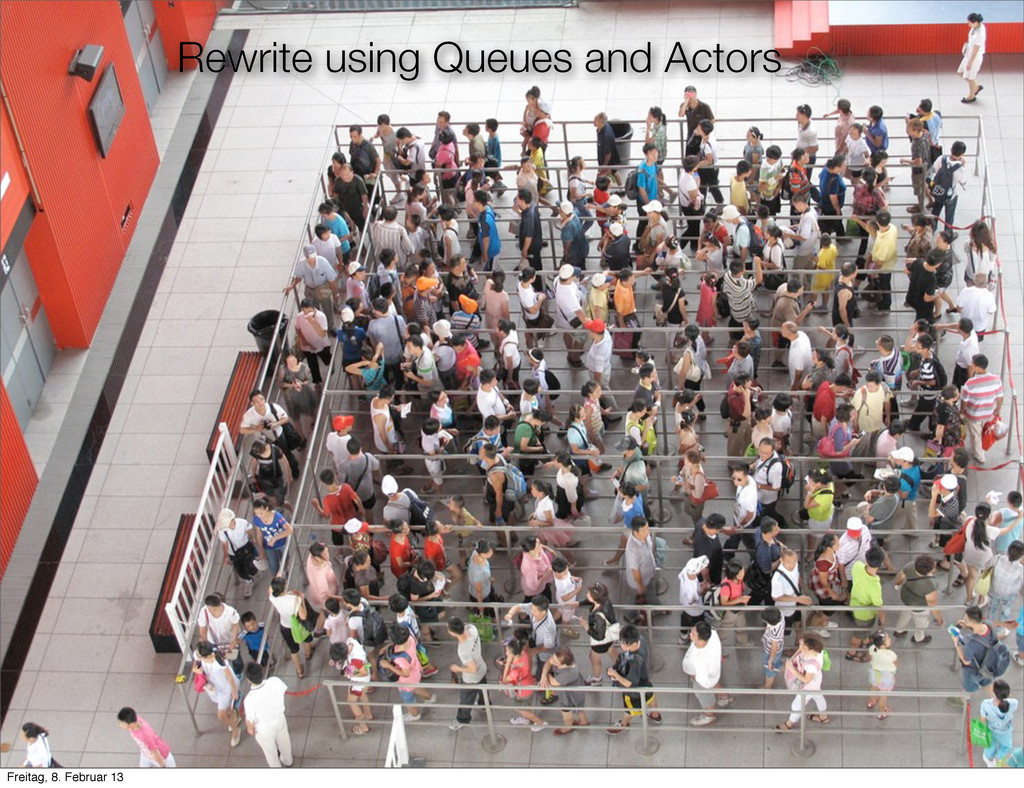 Rewrite using Queues and Actors Freitag, 8. Feb...