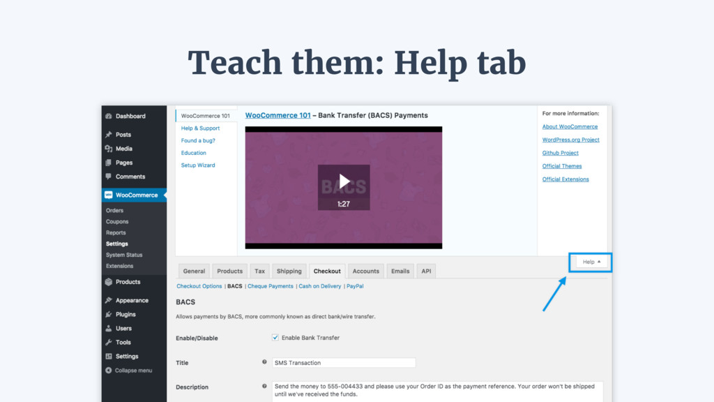 Teach them: Help tab