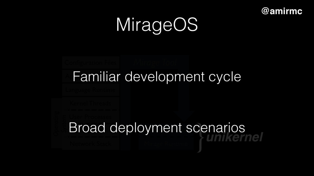 unikernel } MirageOS Familiar development cycle...