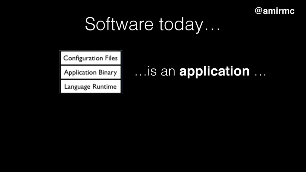 …is an application … Software today… @amirmc