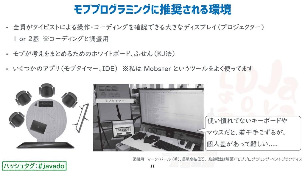 ハッシュタグ:#javado • 全員がタイピストによる操作・コーディングを確認できる大きなデ...