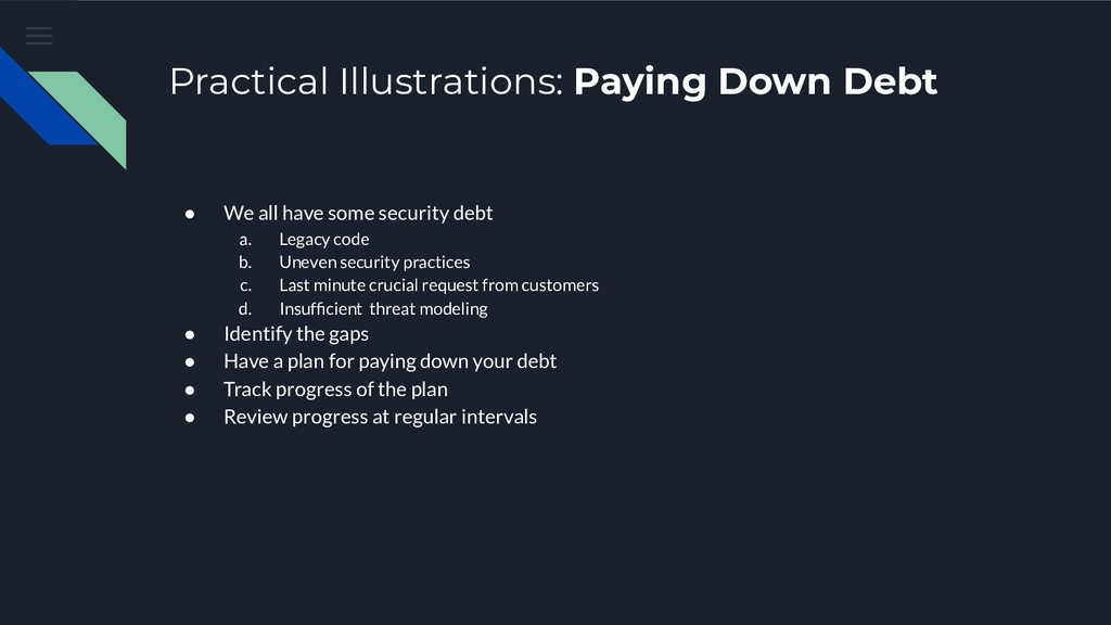 Practical Illustrations: Paying Down Debt ● We ...